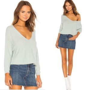Free People Princess V Neck Sweater in Mint